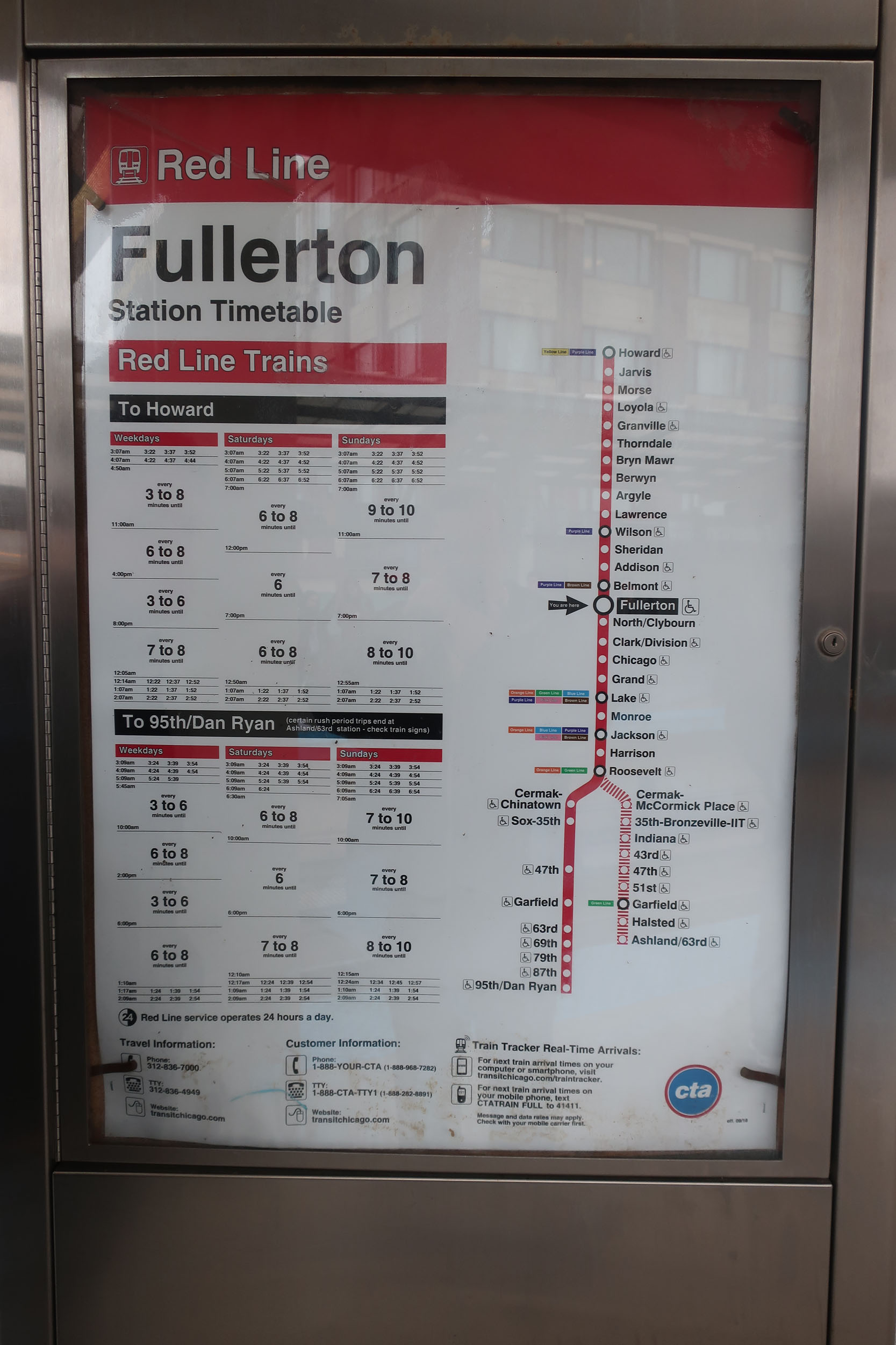 Timetable & map on Fullerton platform