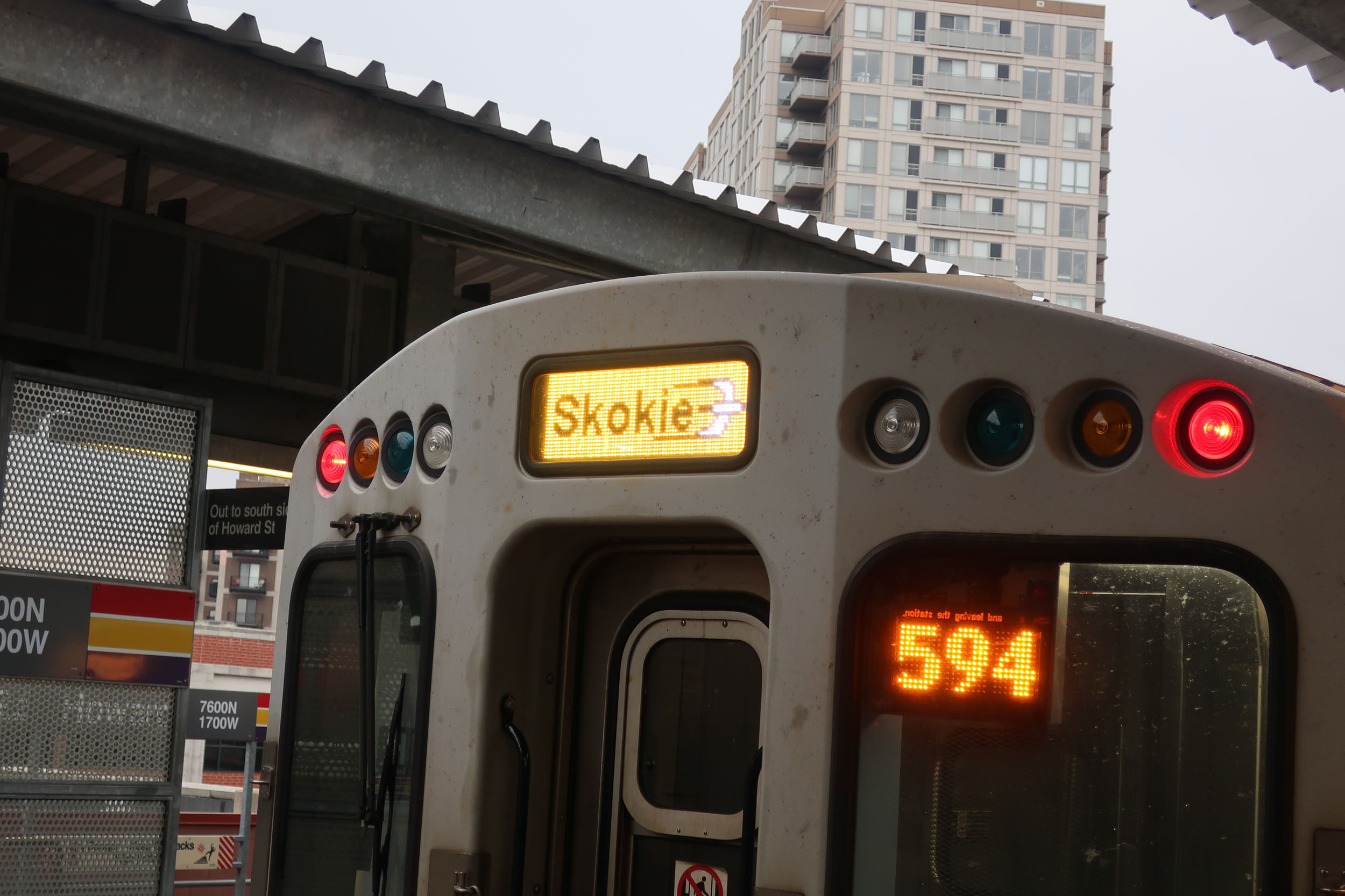 Yellow LED headsign for Skokie Swift
